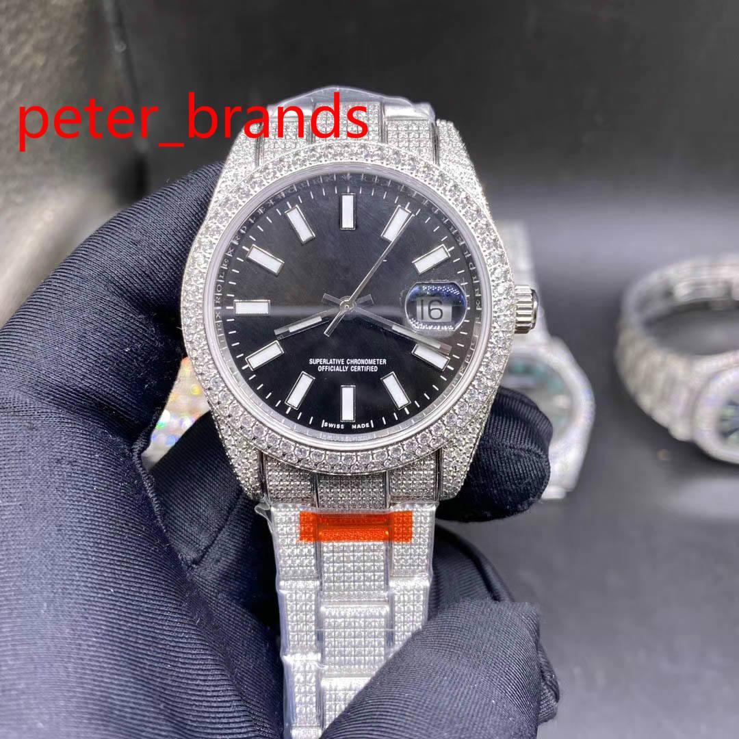 Novo gelado fora de aço inoxidável 39mm caso brilhante rosto preto macio liso varrendo diamantes todos em fivela de alta qualidade