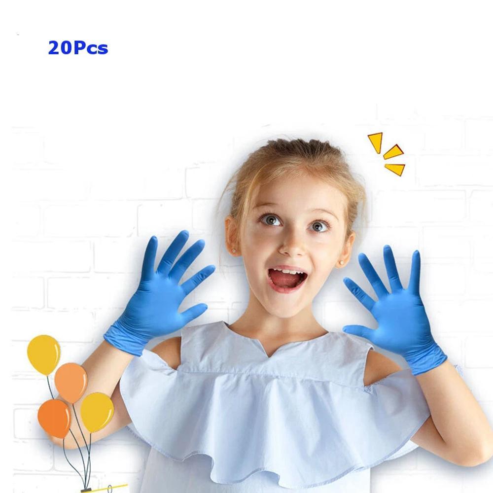 20 pcs crianças descartáveis alimentação de látex luvas de nitrilo luvas de proteção mecânica para a escola de catering para casa