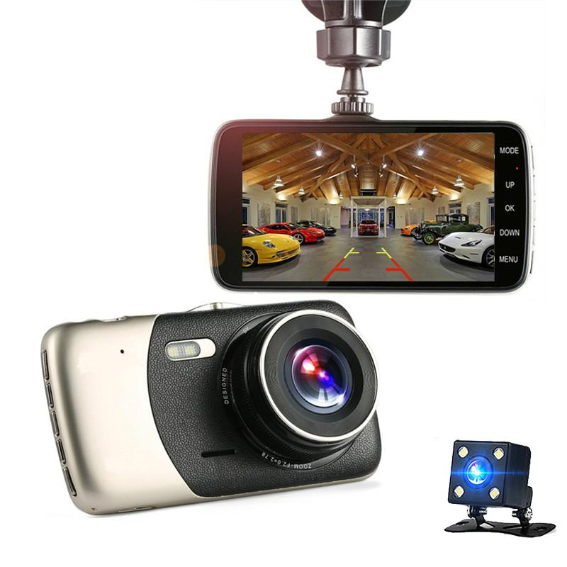 سيارة DVR 4 بوصة السيارات الكاميرا المزدوج عدسة FHD 1080P داش كاميرا فيديو مسجل مع كاميرا الرؤية الخلفية registrator للرؤية الليلية dvrs