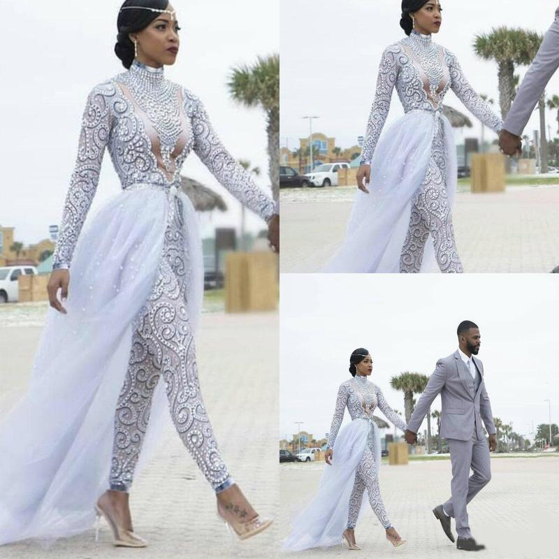 2021 Свадебное платье Великолепные комбинезоны с съемным поездом Высокие шеи Бусины Кристалл с длинными рукавами Скромные платья Африканские свадебные платья
