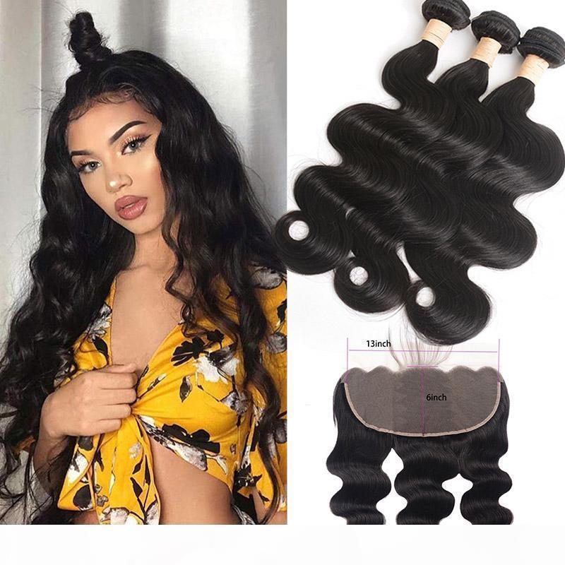 Перуанские 100% человеческие волосы уцингируют с 13x6 кружевной лобной свободной частью части тела пучки с 13 на 6 фронтальных натуральных цветов Weaves