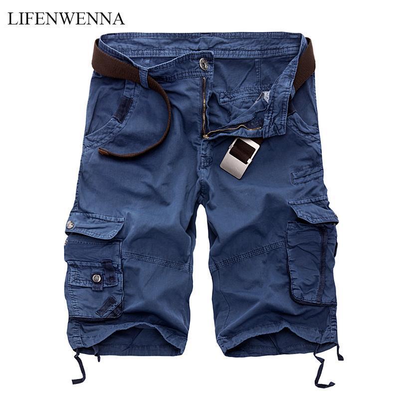 Lifenwenna Mens Cargo Shorts 2021 Brand New Exército Camuflagem Shorts Táticos Homens Algodão Solto Trabalho Casual Calças Curtas