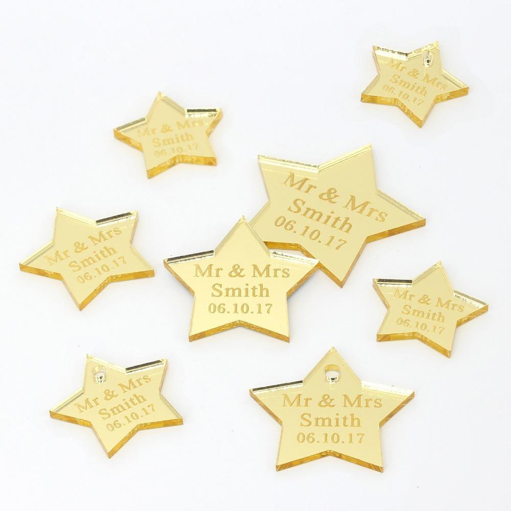60 pcs casamento personalizado Gravado ouro prata espelho estrela etiquetas personalizar o birthening presente de aniversário etiquetas decoração da mesa do partido y201006
