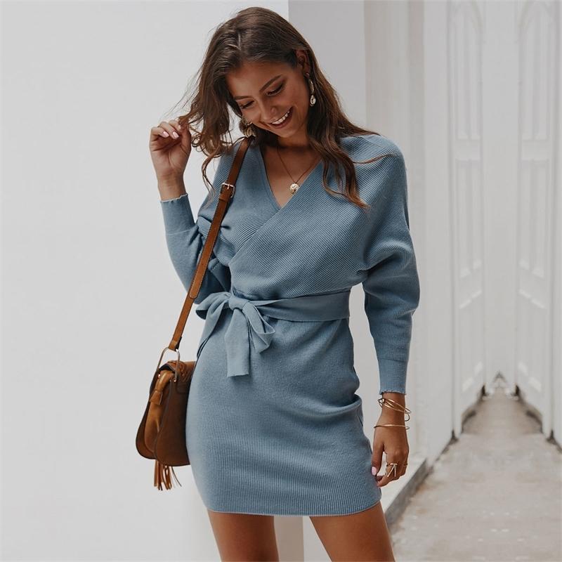 Outono inverno vestido de malha mulheres manga completa vestidos sólidos slim ajustar cintura mulheres vestido casual quadril vestido 201110