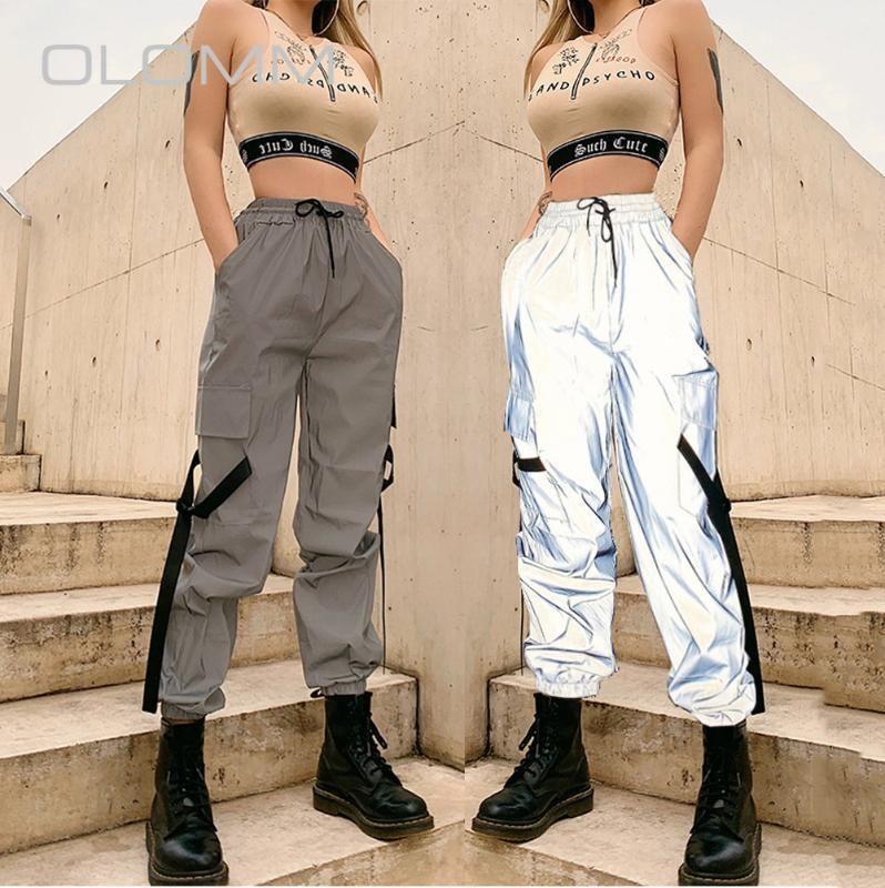 2020 Yaz Yeni kadın Moda Ince Yüksek Bel Yansıtıcı Dantel-Up Takım Rahat Spor Pantolon Kadın Sokak Atış Pantolon1