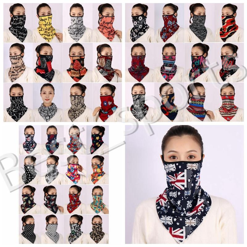 Bufanda jjkv mujeres máscaras de triángulo patrón de polvo estilos pañuelo al aire libre sombrilla media cara ciclismo earhook bufanda máscara a prueba de viento yya wcmdv