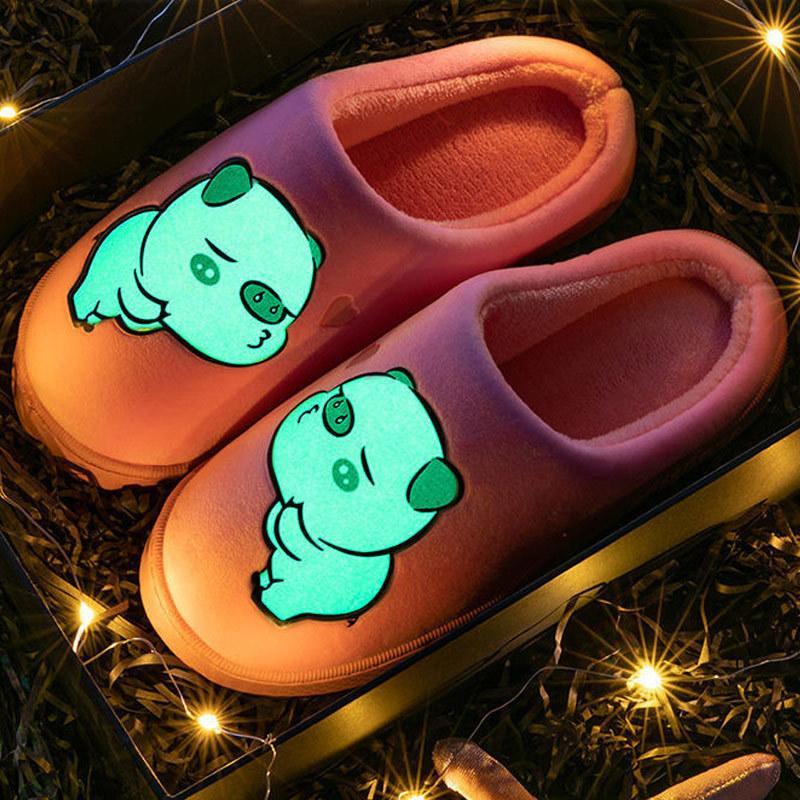 McCKLE Kadınlar Çift Terlik Floresan Gece Sıcak Terlik Kadın Sevimli Ev Konfor Bayanlar Moda Rahat Ev Ayakkabı Kadın 201127