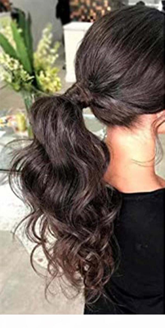 Malaysian high Ponytail Hair Extensions clip in Wrap Around Ponytail wavy curly Ponytail Hairpiece#2 Dark Brown 100g 120g 140g