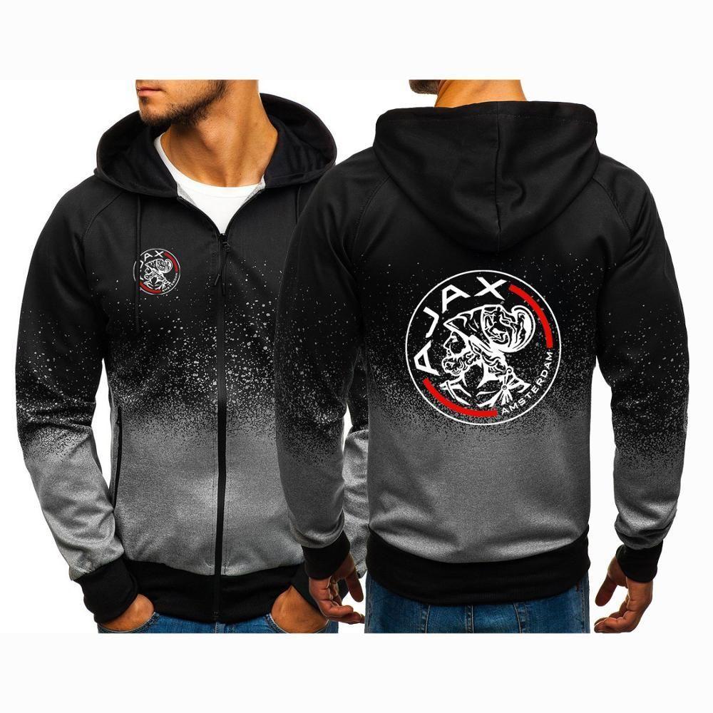Men' Zipper Coats 2020 Autumn Casual Hoodies Man Jackets AJAX Sweatshirts Designer Gradient Street Print High Color Spring Ctjuw
