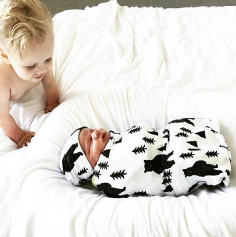 Newborn Wrapper Cap Set Baby Sleeping Bag Elastic Newborn Blanket Kids Sleep Sack Stroller Wrap Baby Bedding Supplies 11 Designs BT5611