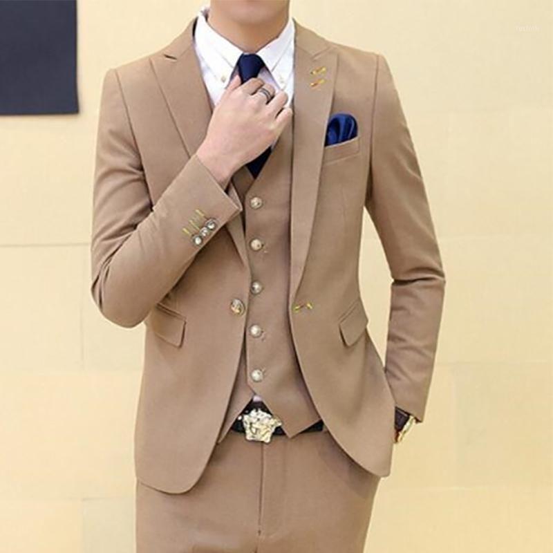 Candy Color Men Suit Casual Men Suit Slim Fit 3 Pezzi per Party Tuxedo Blazer Blazer Blazer personalizzato Wear Wear (Giacca + Pants + Vest) 1
