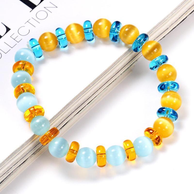 Bracelet de perle de pierre bleu et jaune 8mm Bracelet pour femme Bijoux Accessoires Cadeaux1