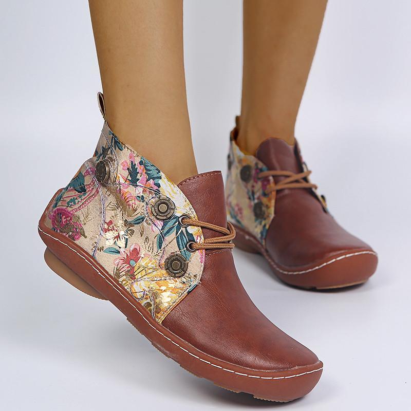 النساء الأزهار المطبوعة أحذية قصيرة المرقعة أحذية الكاحل 2021 السيدات جذابة الربيع الأحذية النسائية الدانتيل متابعة جولة كعب الأحذية المسطحة M85