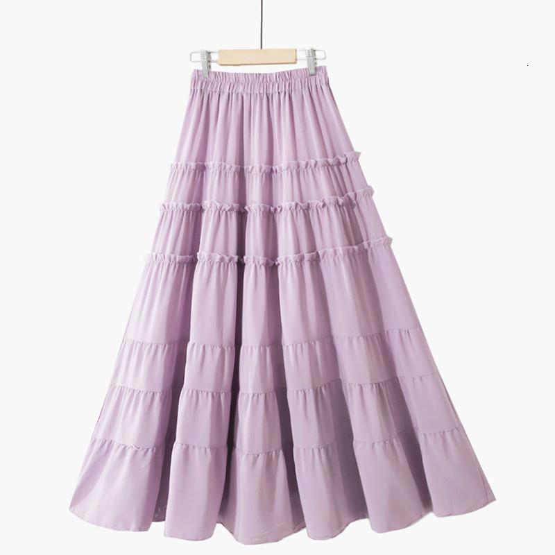 Hermosa falda larga maxi Mujer Moda 2020 Verano Coreano Una línea Alta Cintura Tierreada Falda de gasa Mujer Púrpura Amarillo