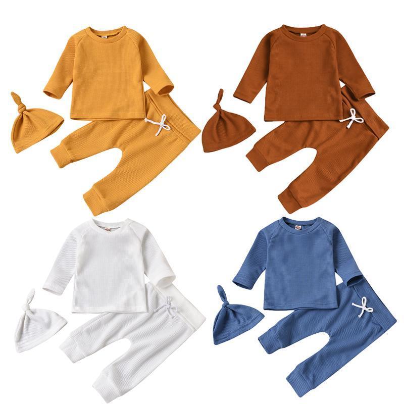 FocerNorm Newborn Baby Girls Boys Sleepwear Sets 3 unids Sólido Pullover Tops de manga larga Tops Pantalones Sombreros Causal Otoño Homewear 0-24m