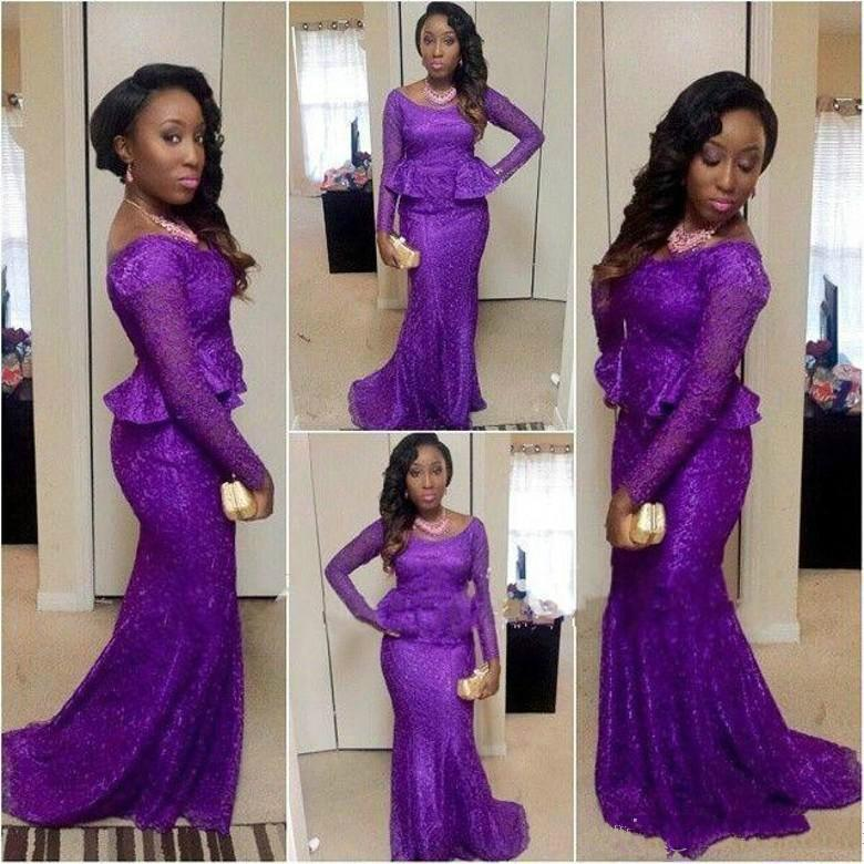 Purple Lace Overskirt Evening Dresses Long Sleeve Off Shoulder Floor Length Mermaid Prom Gowns Party Dress Custom Made