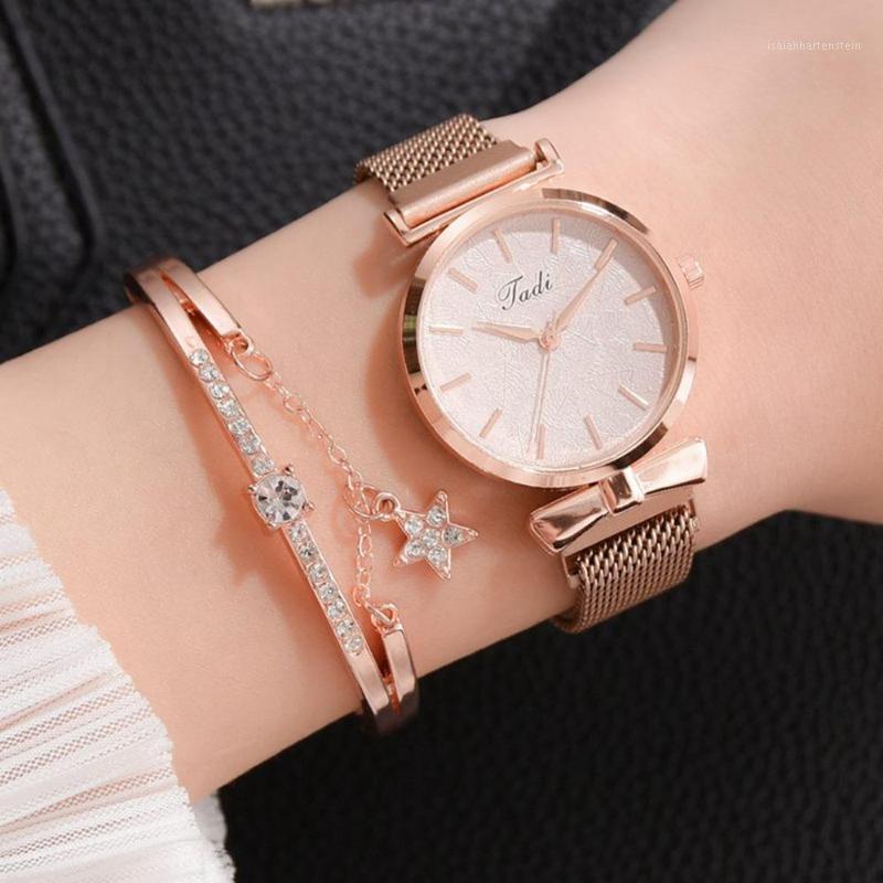 Alliage de luxe femmes regarder aimant montres mode dames quartz montre-bracelet élégant femme bracelet montre montres magnétiques pour femmes1