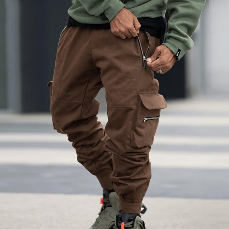 남성용 포켓 캐주얼 느슨한화물 바지 소년 패션 스포츠웨어 피트니스 조깅 야외 긴 바지 플러스 사이즈 바지