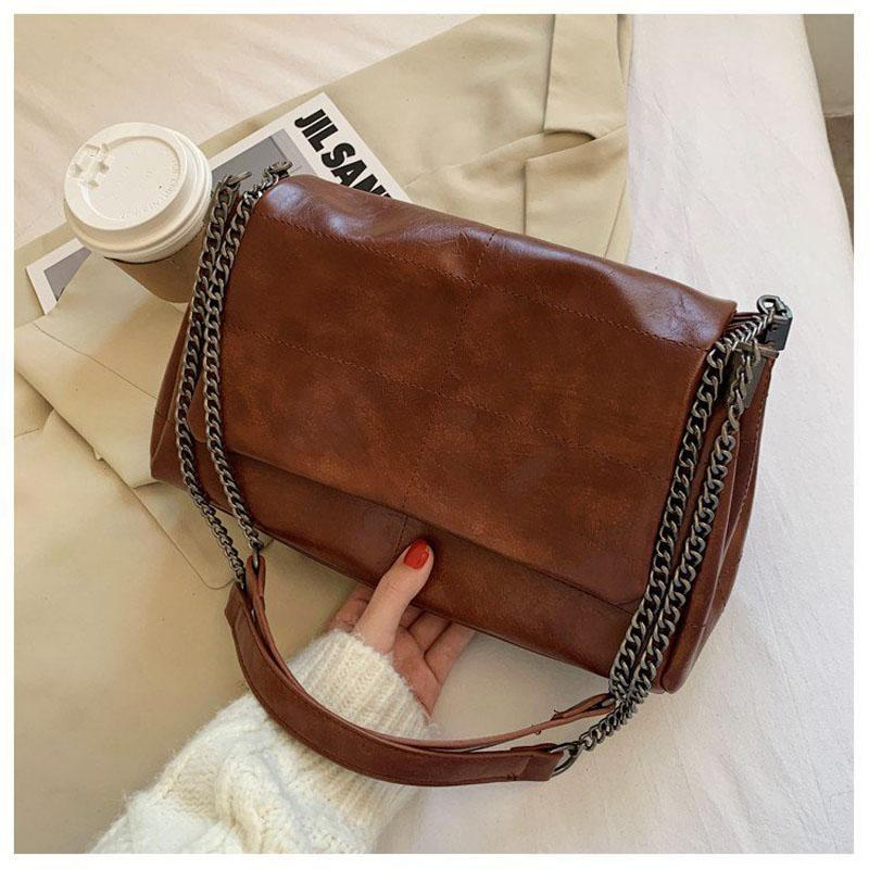 Sac à bandoulière en chaîne épaisse pliante pour femmes 2020 Sac de mode Un sac à bandoulière principale Femelle Sacs à main et sac à main avec poignée