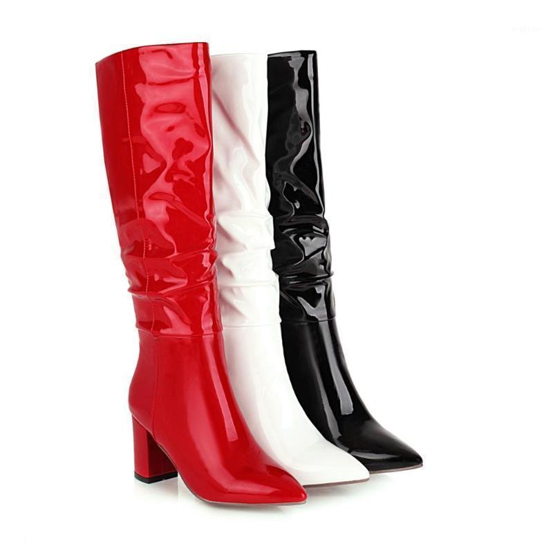 2020 High Heel Knie Hohe Stiefel Frauen Schuhe Faux Leder Plissee Lange Stiefel Spitz 24-43 Herbst Winter1