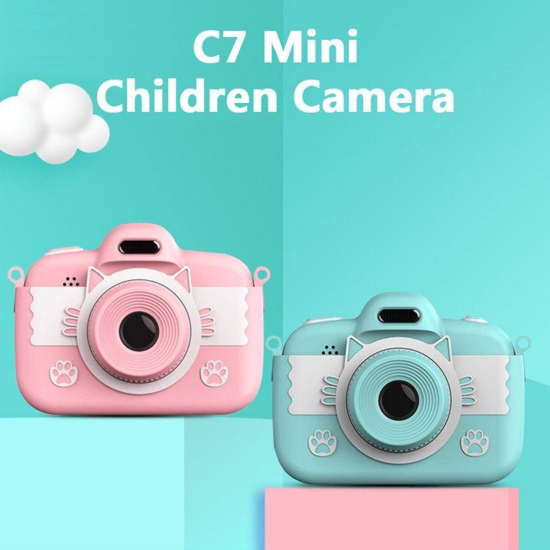 C7 mini crianças câmera crianças brinquedo câmera 3.0 '' Câmera digital full hd com silicone crianças intelectuais brinquedos crianças presentes 10pcs