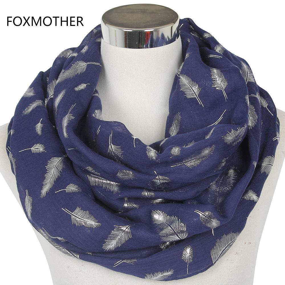 Foxmother Spedizione gratuita Fashion Womens White Yellow Giallo Bronzing Foil Sier Feather Ring Scarv Collo Scarf Glitter Foulard