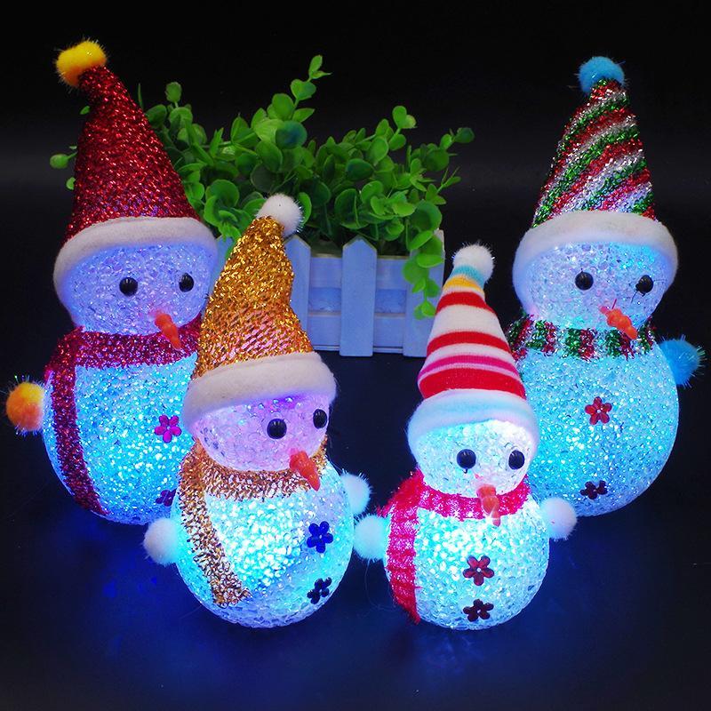 Luminous Snowman Christmas Children's Toy Decoration Gift LED Particles Colorful Flash Christmas Creative Small Gift Christmas Decoration