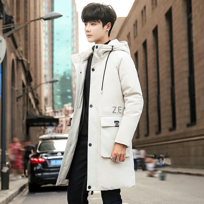 inverno di autunno e uomini giù di media lunghezza giacca con cappuccio utensili di tendenza luce piume d'anatra bianca cappotto caldo ispessito