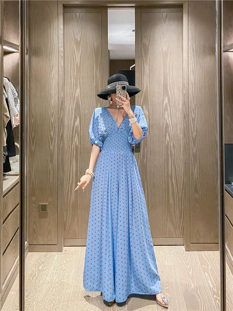 2021 Женская Летняя Стильная новая в горошек в горошек шифон высокая талия широкая нога в модном отпуске YA7G