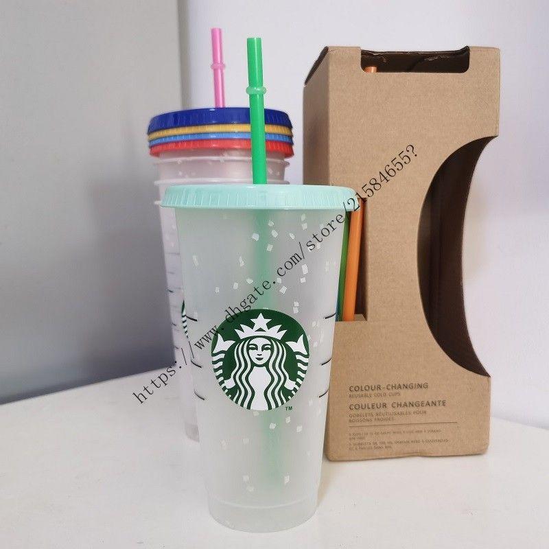 Neue 5pcs / 1 Satz 24 Unzen Tumbler Plastik Trinksaft-Tasse mit Lippe und Strohmiefter Kaffeetasse Costom Starbucks Schnee Plastikschale