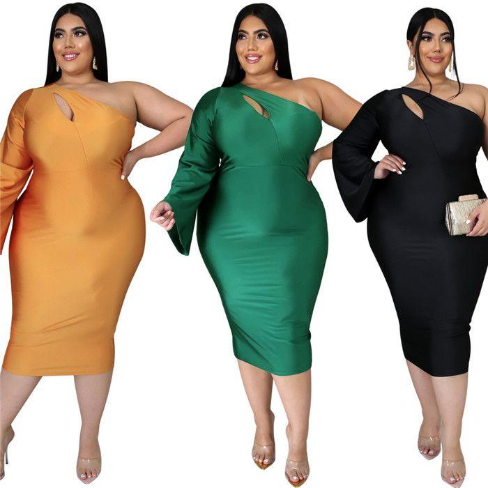 Plus größe frauen kleider schräg schulter sexy hohl lang und kurz hülse schlanke hohe taille frauen kleid einfarbig