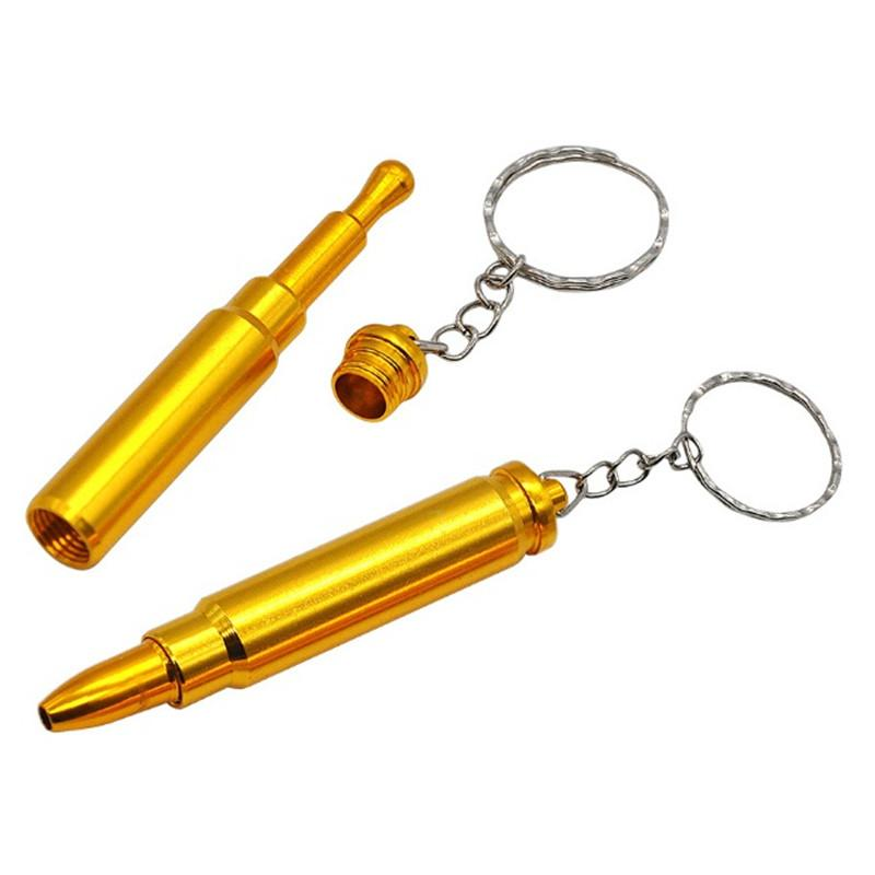Altın Bullet Boru Mini Funky Bullet Metal Altın Boru Tütün Sigara Filtre Borular Anahtarlık Baş Gun Tabanca Bullet Şekli El Borusu