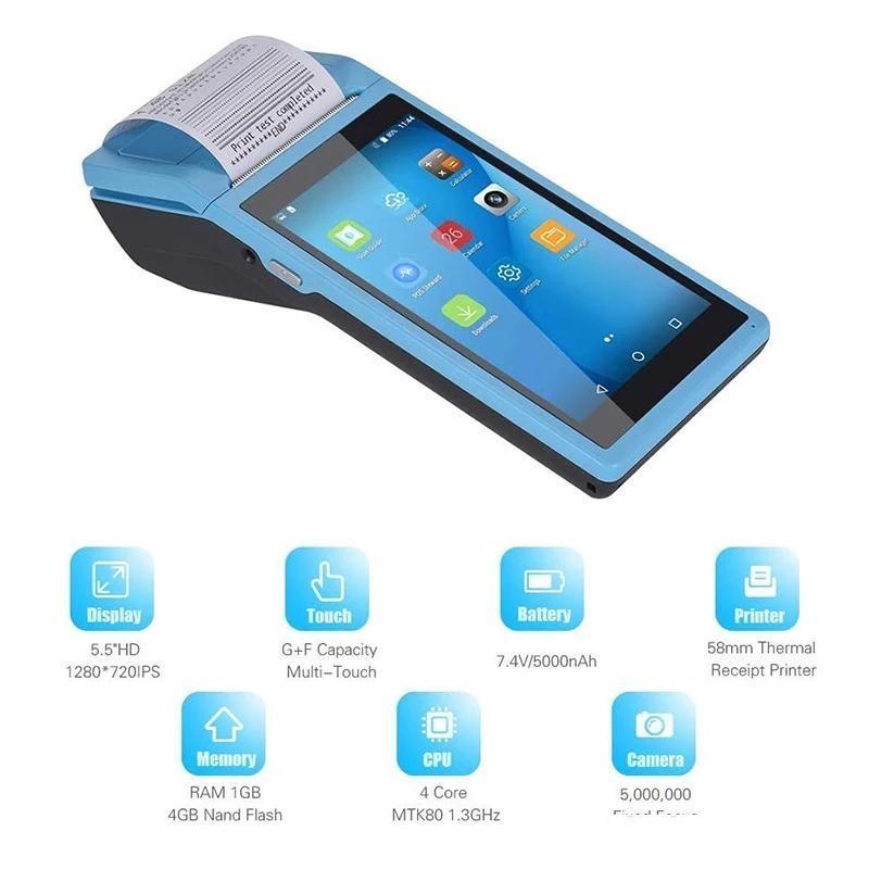 Android6.0 Wifi 3G Bluetooth PDA Terminal Scanner مع الطابعة الحرارية 58MM Wireless Handheld الأجهزة المحمولة القارئ الباركود