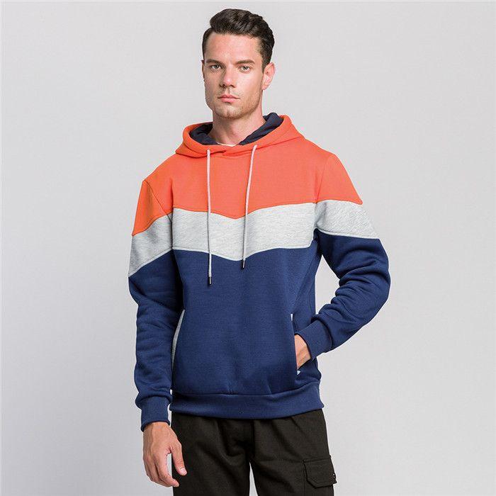 느슨한 망 후드 스웨터 캐주얼 패치 워크 남자 스포츠 후드 가을 겨울 패션 풀오버 남자 탑 옷