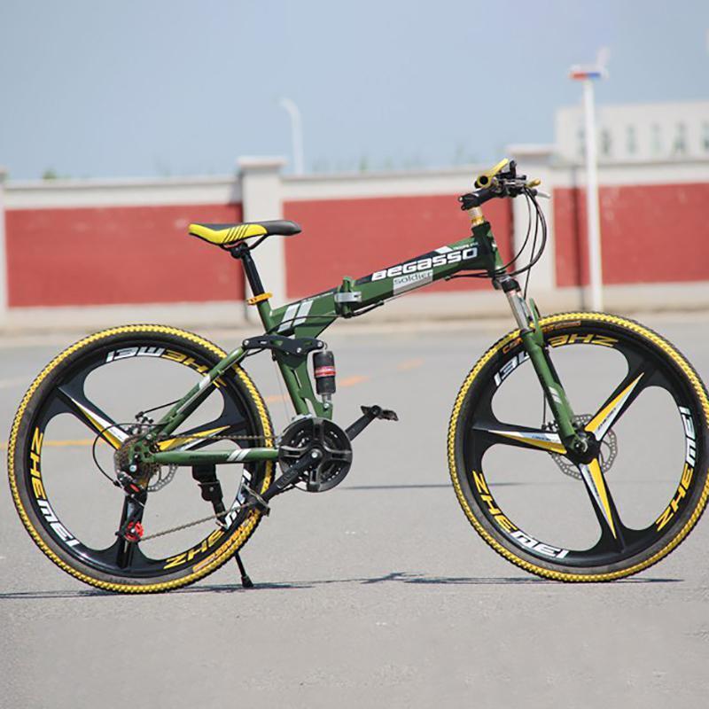 Beste der hochwertige Begasso-Mountain-Fahrrad-Faltkohlenstoffstahl für Erwachsene, 26-Zoll-Rennrad-Doppelscheibe, Herren