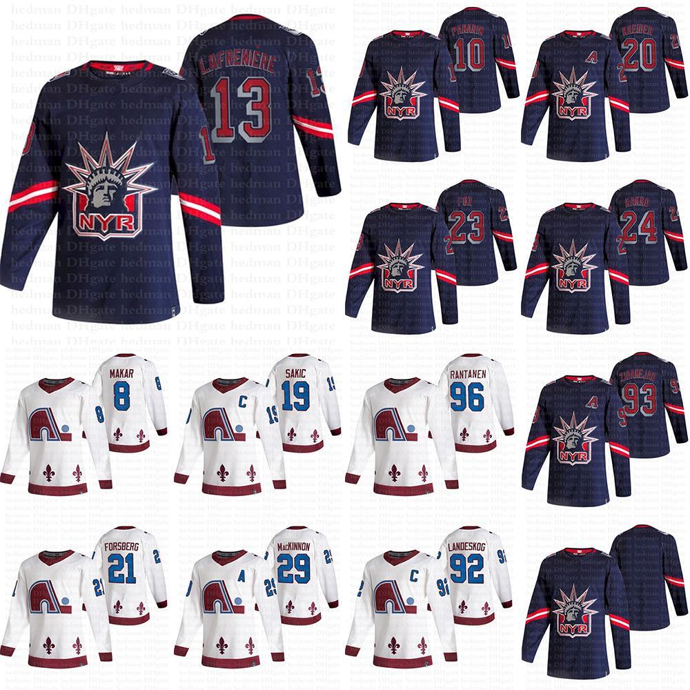 Nova York Rangers Colorado Avalanche 2021 Reverse Retro Jerseys 13 Lafeniere 10 Panarin 24 Kakko 29 Mackinnon 8 Cale Makar Hóquei Jersey