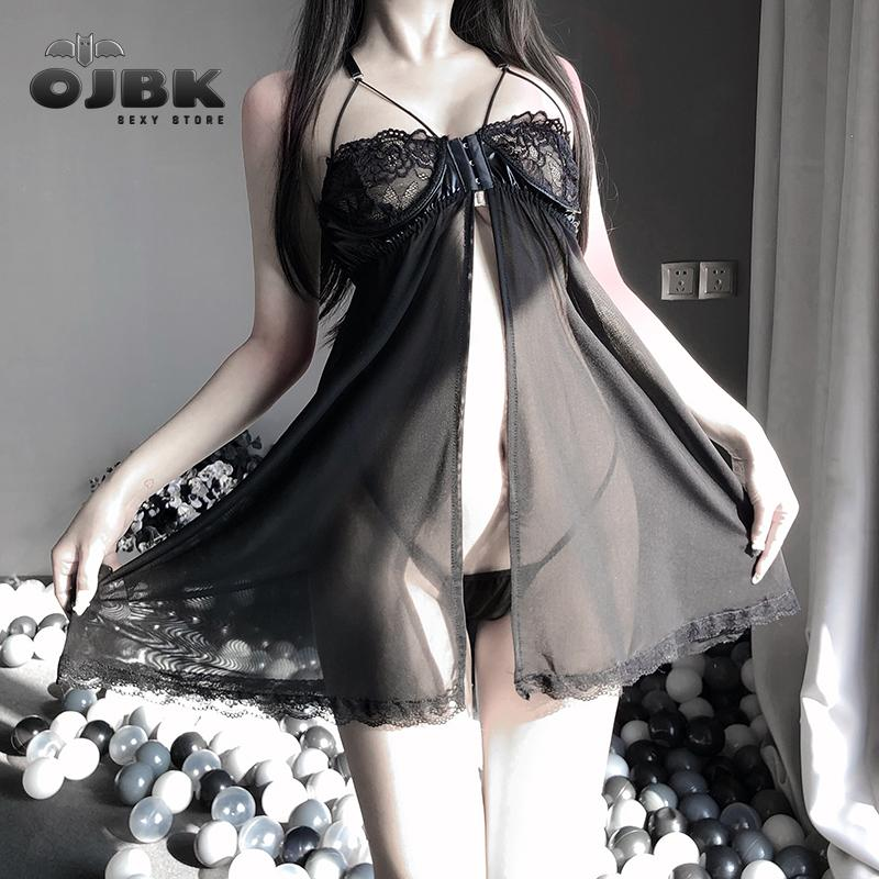 Sleepwear Night Dress Vestito da sesso erotico Abbigliamento sexy Sexy Donne Lingerie Lace Ruffles Robe See-through Babydoll Underwear 2020 Nuovo