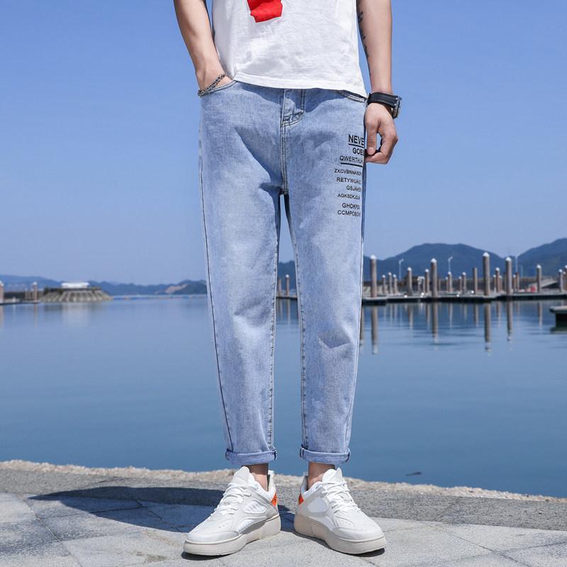 Jeans pour hommes en gros 2021 Hong Kong Marque Mode d'été All-match Casual Casual Longueur de la cheville Pantalons coréens mince mince Harem