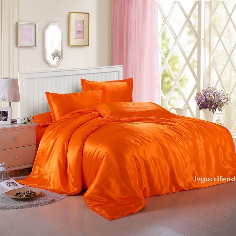 Jeefttby morbido di colore giallo arancione raso di seta 4pcs lenzuolo solido di colore del doppio di simulazione raso di seta Biancheria da letto Copripiumino Federa