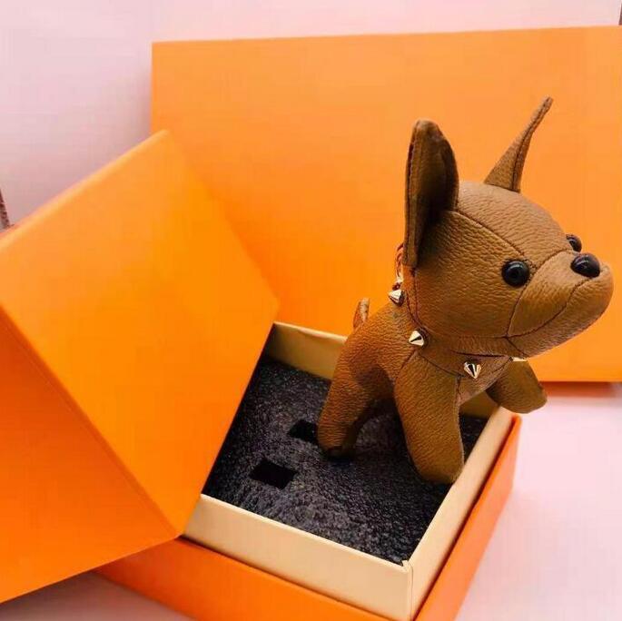 5pcs Fashion Designer Cartoon Animal Small Dog Key Catena Accessori Portachiavi Portachiavi PU in pelle lettera modello auto portachiavi gioielli regali senza scatola