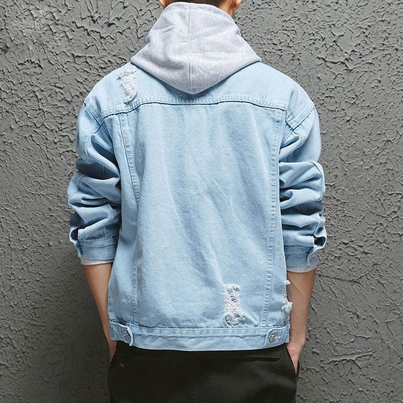Slim Fit Spring Jacket Blue Jeans Coat Abrigo Hombres Agujeros Vintage Masculino Denim Largo Casual Streetwear Botón de vaquero Chaquetas GGGDEG