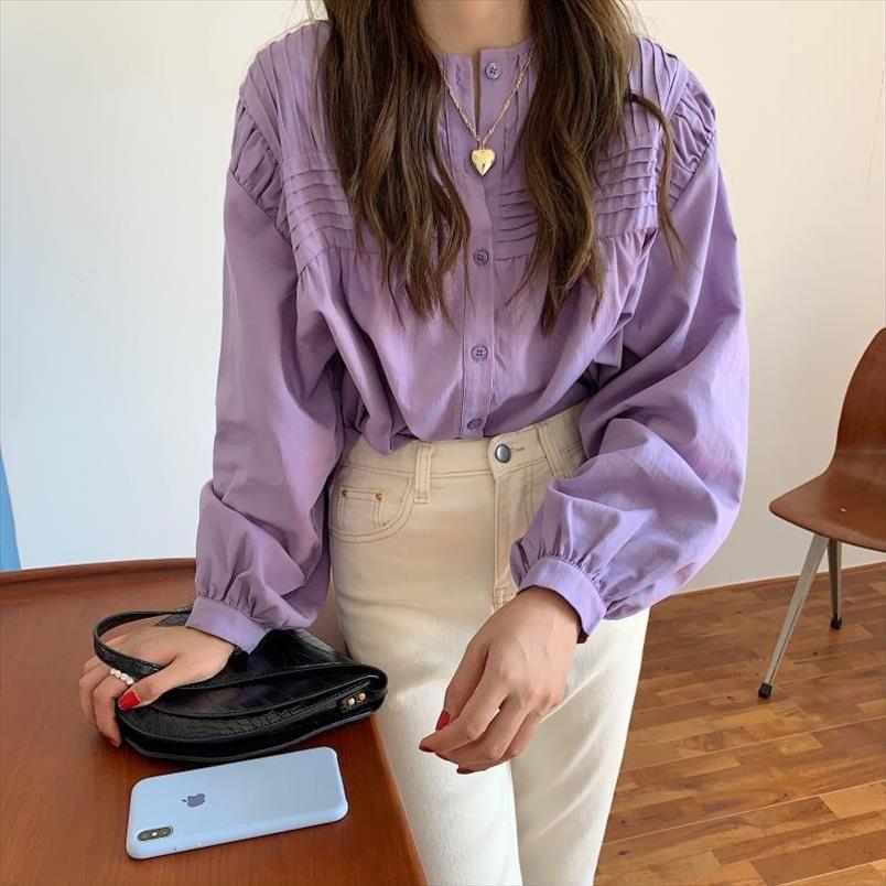 Vintage Süße Tops Frauen Blusen 2020 Neue Herbst Koreanische Style Puff Sleeve Single Breasting Lose Hemd Femme Blusas