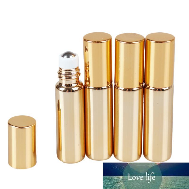 Aihogard 미니 에센셜 오일 향수 향수 병에 리필 병 UV 코팅 컨테이너 골드 롤 비우기 10ML