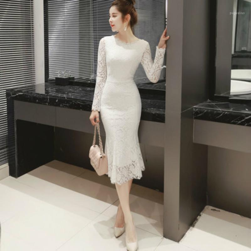 2020 Otoño Invierno Vestidos de encaje negro para mujeres Manga larga Casual Damas blancas Vestidos elegantes Streetwear Vestido de Mulher1