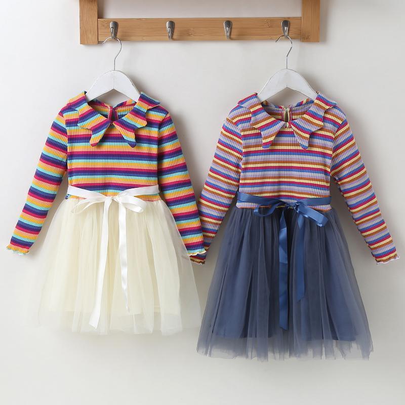 Малыш Baby Girls Striped Print Tulle Платье + Наряды повязки Принцесса Платье Party Party Infantil Дети Детский Костюм