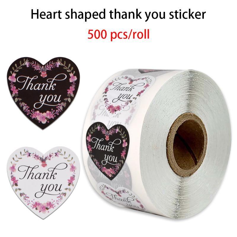 500 pcs / rolo em forma de coração preto e branco obrigado adesivo etiqueta etiqueta de selo para papelaria de decoração de festa de casamento
