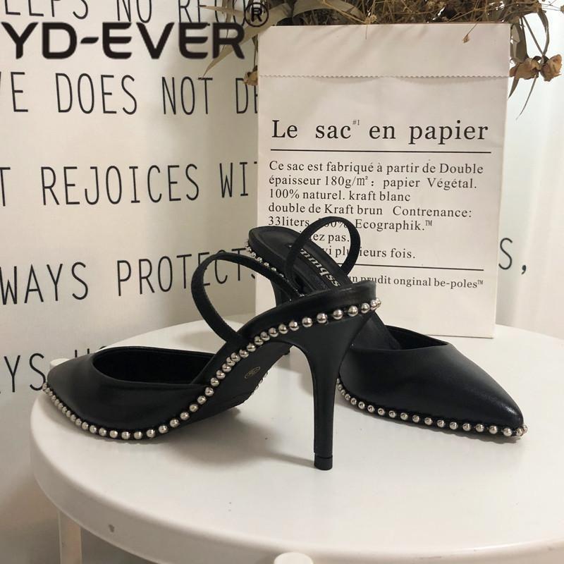 Spedizione gratuita Moda donna Pompe in pelle nera Pelle con borchie Spikes Point Toe Slingback Tacchi alti Party Shoes Shoe Shoe Shoe Wedding Shoes1
