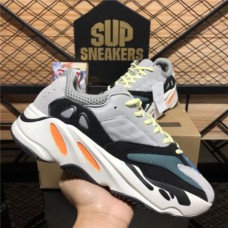 Top Qualität Kanye West Laufschuhe 700 Wave Runner Trägheit Reflektierende Tephra Solid Grey Utility Schwarze Männer Frauen Sport Turnschuhe mit Box