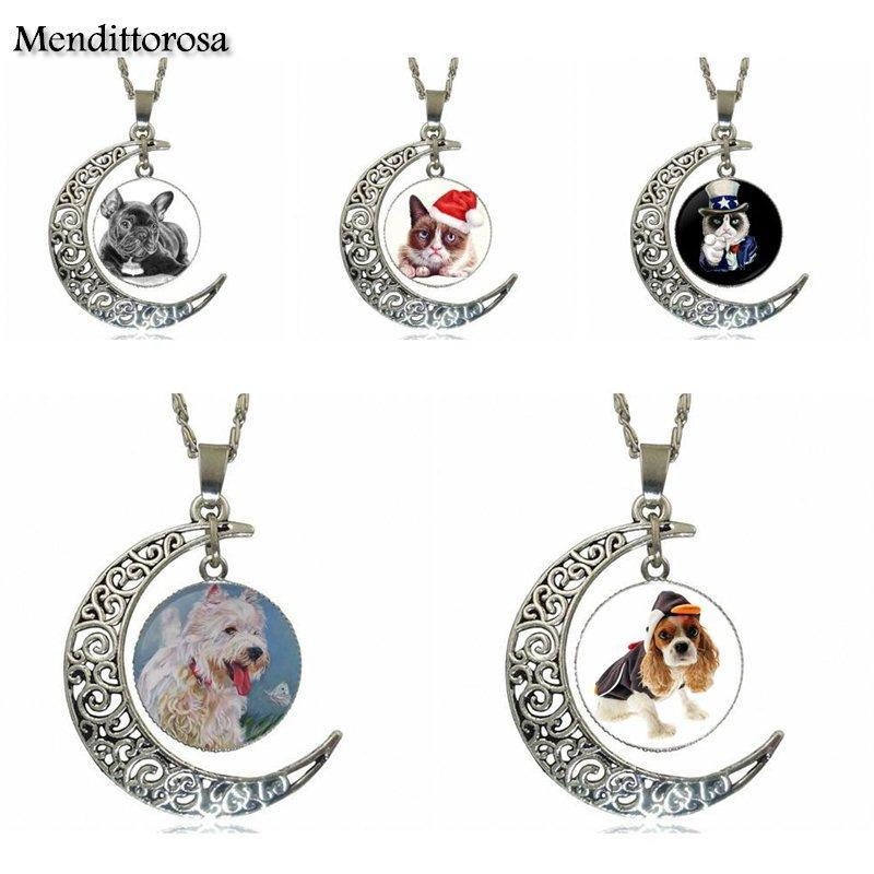 EJ Glaze For Women Pet Dog Dog Fashion Glass Cabochon Moon Pendant Necklace Choker Necklace Jewelry