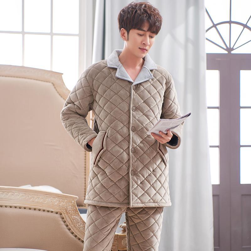 Плюс размер 3xL стеганые спящие одеяние длинный стиль зимний теплый фланель Pajama набор толстые мягкие мужские пижамы коралловые флисовые досуга вовремя Q1202